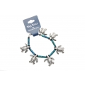 Big Blue Bracelet - Sea Turtle Charm Bracelet with Ceramic Blue-Green Beads