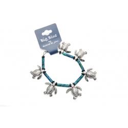 Big Blue Bracelet - Sea Turtle Charm Bracelet with Ceramic Blue-Green Beads